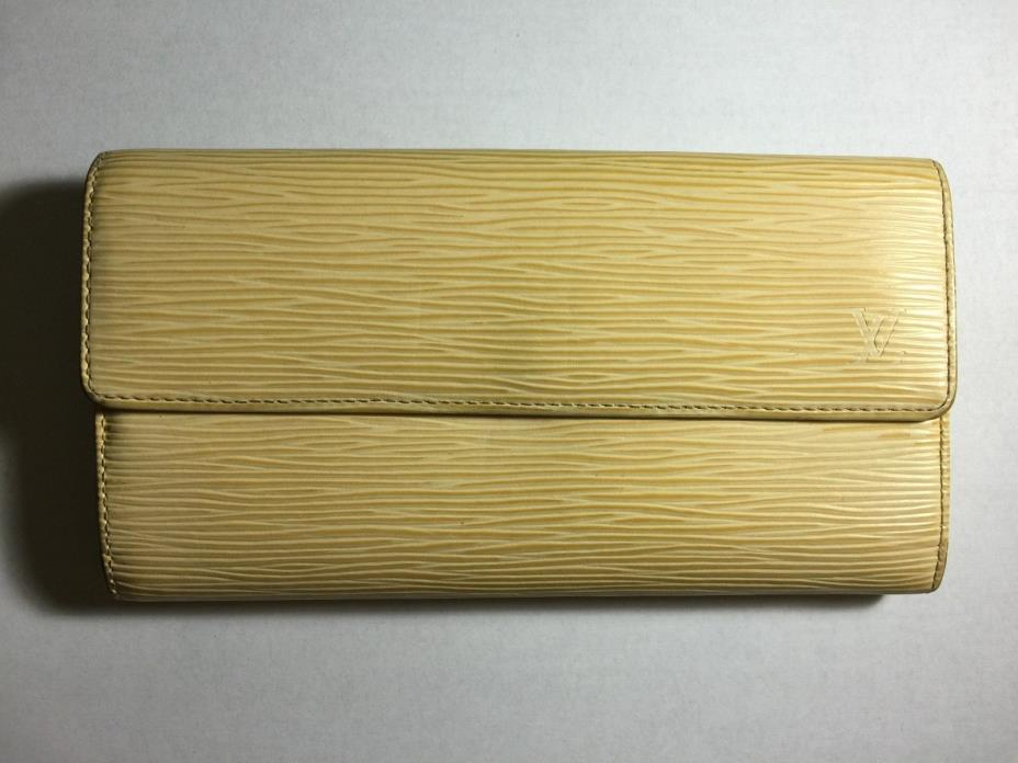 Authentic Louis Vuitton Yellow EPI Leather Long Wallet