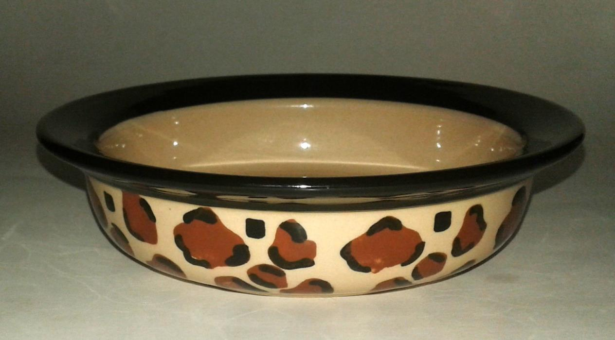 Whisker City Leopard Print Tan Ceramic Cat Dish Bowl 6 Inch EUC
