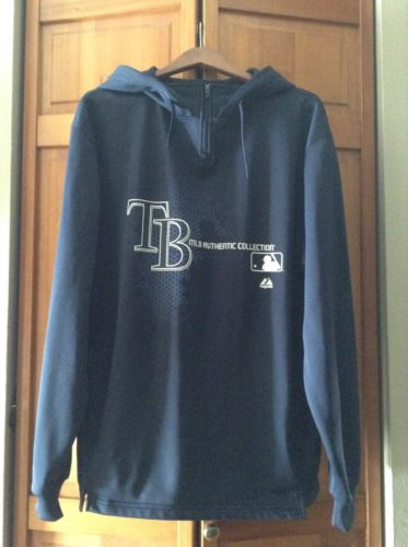 Men's Majestic MLB Authentic Collection TB Rays Hooded Sweatshirt - Large