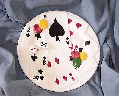 POKER DICE ROUND CANAPE DISH LINEN AND THINGS HEAVY RELIEF