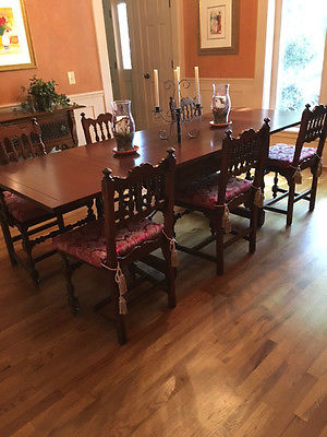 Antique Dining Set 1910 Jacobean Spanish Walnut Dining Table Chairs Sideboard