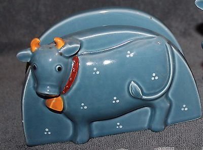 Very Nice Vintage Otagiri Blue Cow Napkin Holder Japan