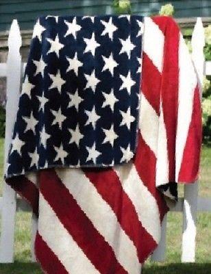 Denali Patriotic American Flag Stars Stripes Microplush Rustic Lodge Throw #404