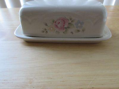 pfaltzgraff tea rose butter dish