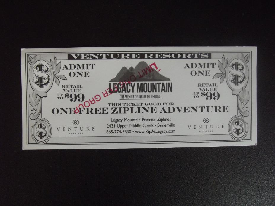 One Legacy Mountain Zipline Adventure Ticket Sevierville TN  Gatlinburg, TN