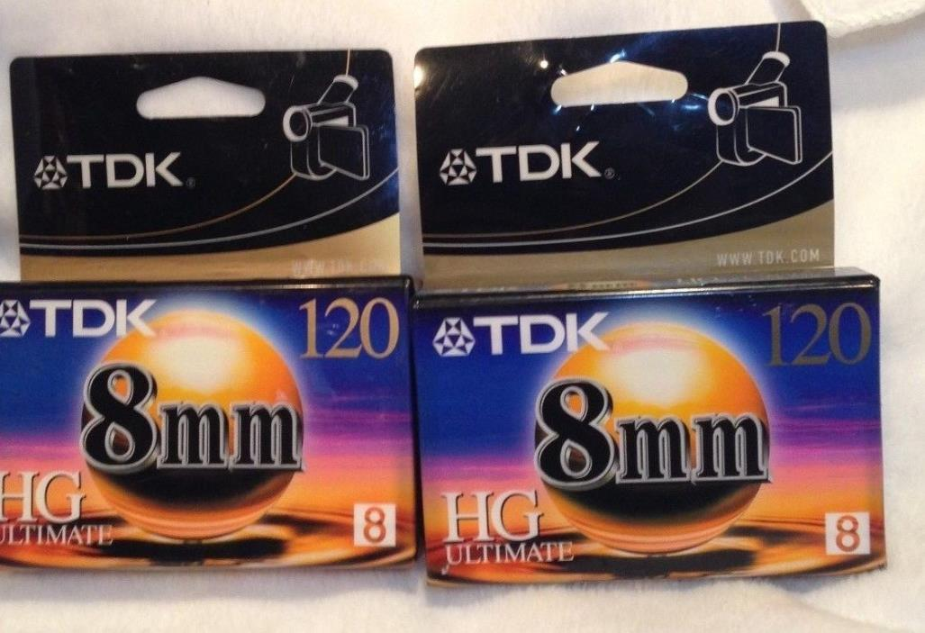 TDK 8mm 120min HG Ultimate - The Ultimate 8mm Camcorder Videotape 2 Packs NEW