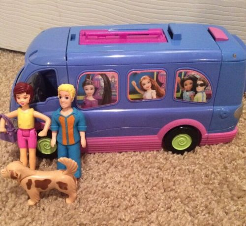 MATTEL POLLY POCKET PARTY BUS / ROCK N ROLL VAN / With 2 FIGURES & 1 DOG