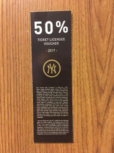 New York Yankees Half Price Ticket Voucher