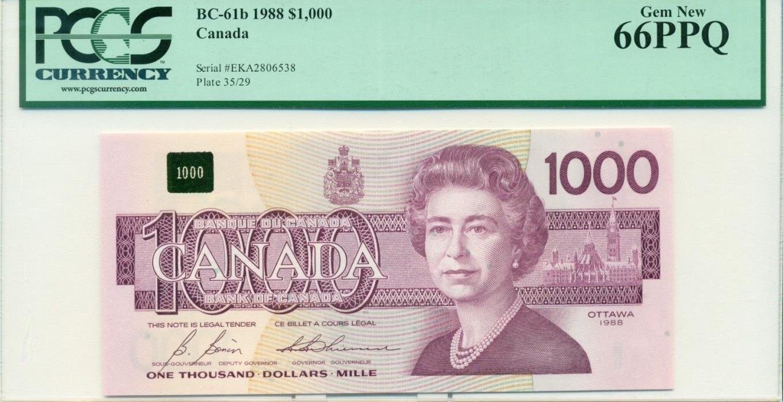 1988 $1000 BC-61b  PCGS 66PPQ