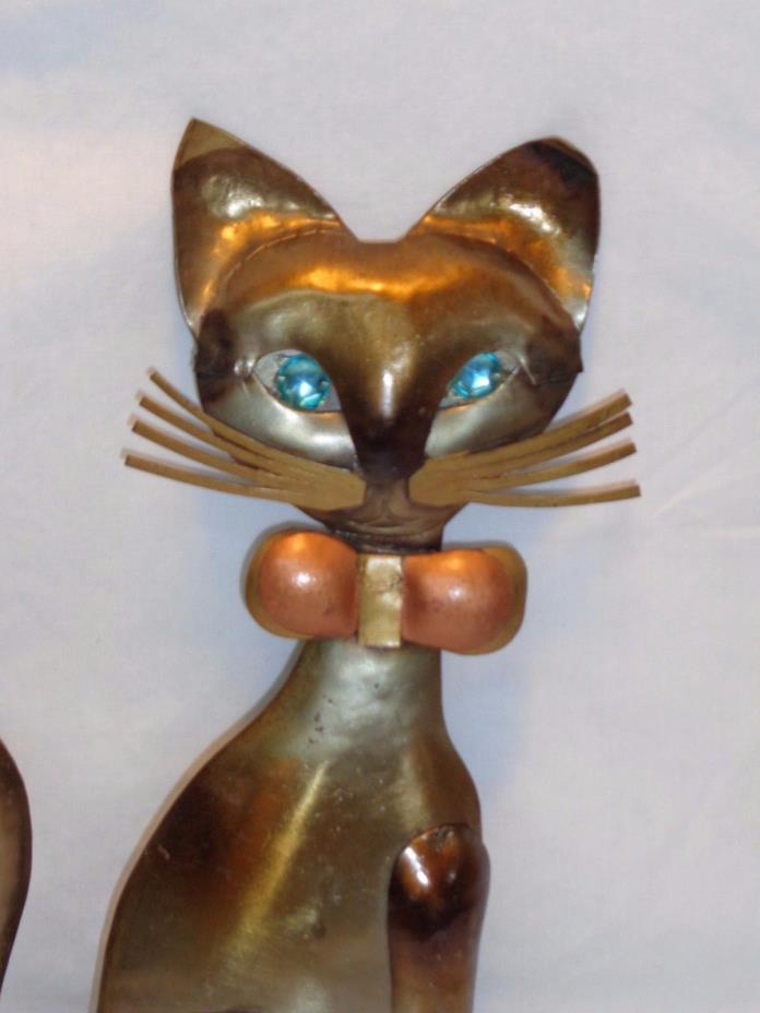 Vtg Mid Century Atomic Modern Siamese Wall Hanging Art Abstract Dapper Cat