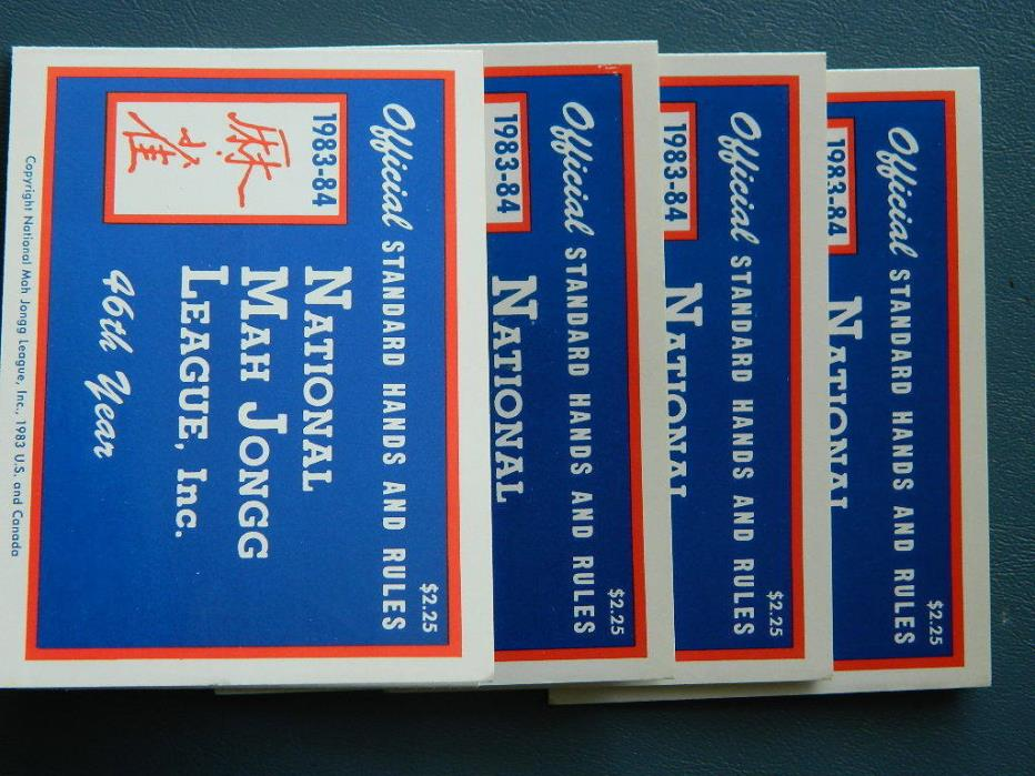 Set  4 Official 1983-84 National MAH JONGG JONG League Rules Game Cards (lot 29)