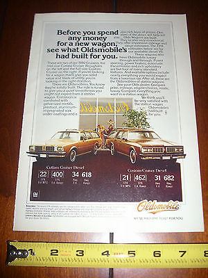 1980 OLDSMOBILE DIESEL STATION WAGON - ORIGINAL AD