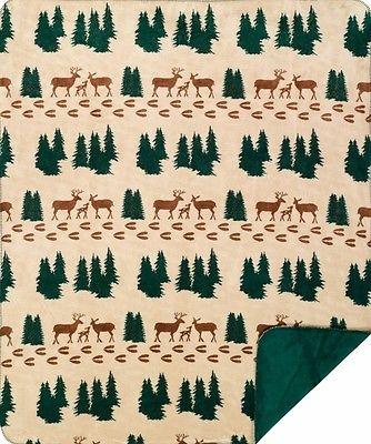 Denali Deer and Pine Trees Rustic Lodge Microplush Throw Blanket 285 Made in USA