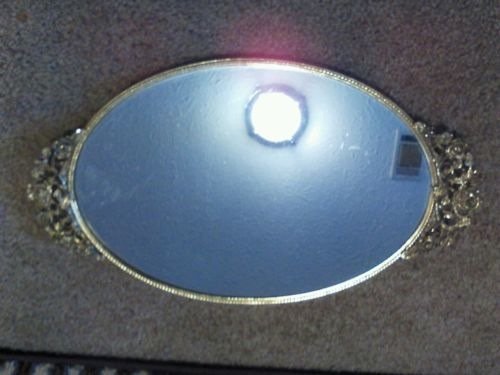 Oval Vintage Decor Bathroom Bedroom Vanity Glass Mirror Tray