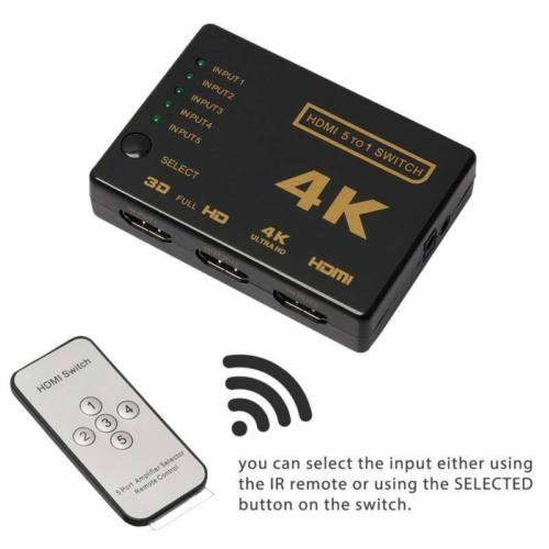3D 5 Port 4K HDMI Switcher Switch Selector Splitter Hub iR Remote For HDTV USA