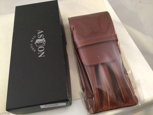 Aston Leather 3 Triple Three Pen Holder Cognac Handmade In New York USA