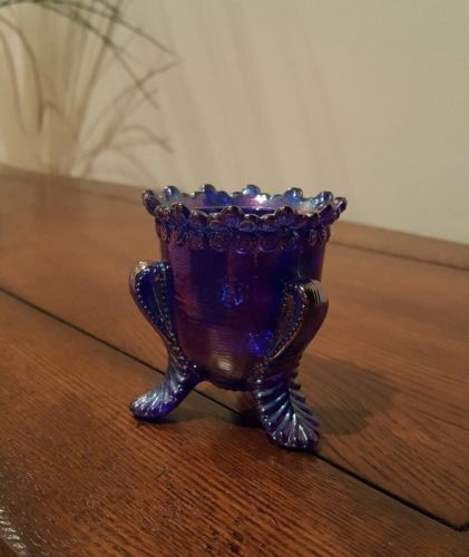 Carnival Glass Footed Toothpick Holder