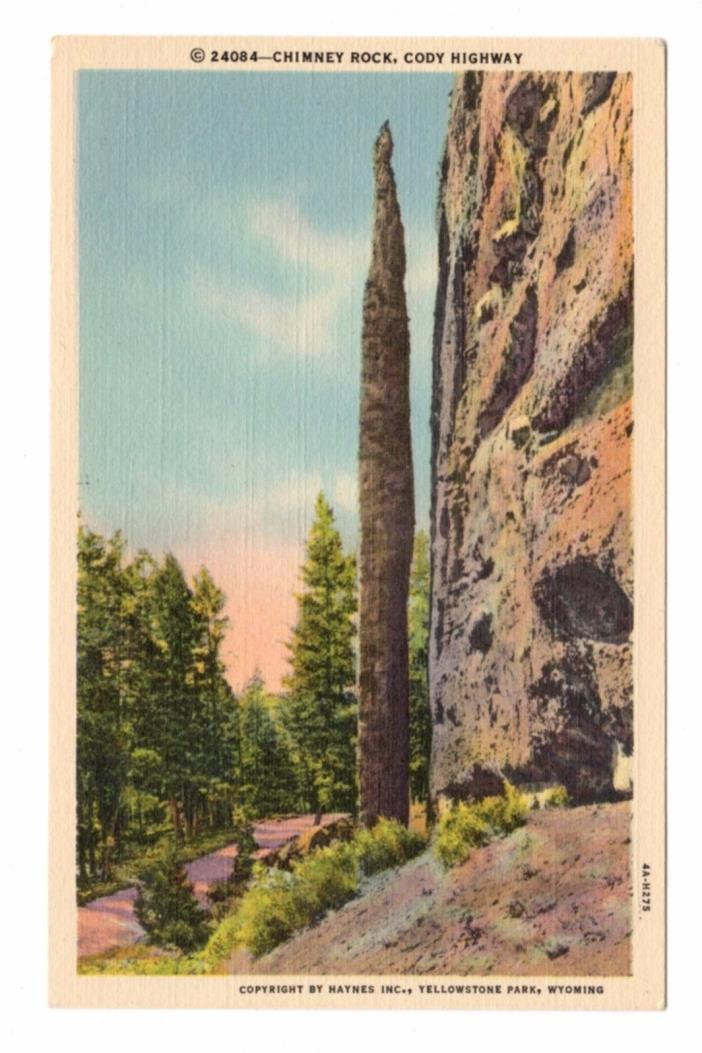 1934 Chimney Rock on Cody Hwy. Near Yellowstone National Park WY Linen Postcard