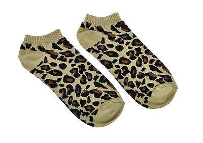 Women`s Tan Leopard Print Heavy Ankle Socks