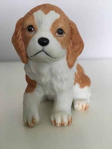 Vintage HOMCO Porcelain Cocker Spaniel Brown & White Puppy Dog Figurine #8828