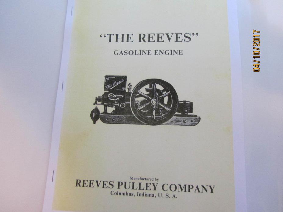 Reeves Pulley Co. Gas Engine Instruction Manual
