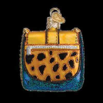 Yellow Chain Purse Old World Christmas Tree Ornament NWT mouth blown glass
