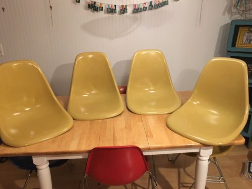 Herman Miller Charles Eames Fiberglass side Shell chair Ochre Light 4 Lot Fr Shp