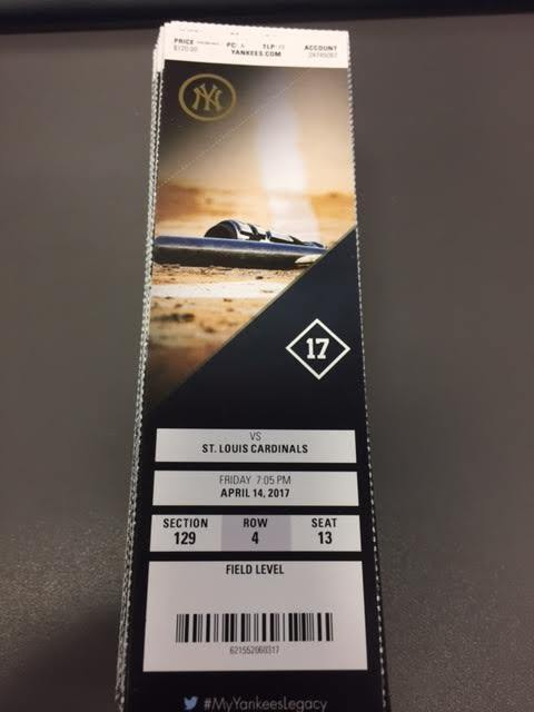 New York Yankees Cardinals MINT Season Ticket 4/14/17 2017 MLB Stub