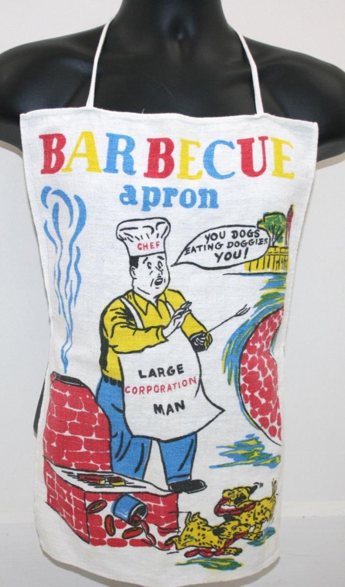 VINTAGE! Novelty Men's Barbecue BBQ Apron Chef Dogs Eating Doggies Comic