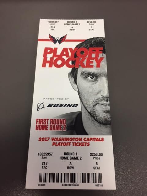 Washington Capitals Maple Leafs Round 1 Game 2 MINT Ticket 4/15/17 2017 NHL Stub