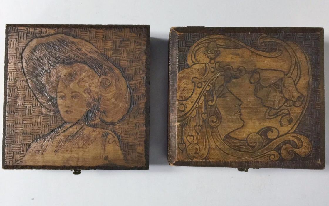 Set of 2 Antique Art Nouveau Deco Wooden Boxes Burned Carved Ladies - Pyrography