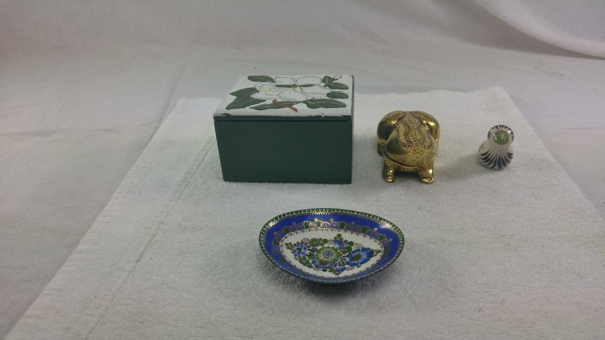 4 Vintage items,Handmade Steinbock Trinket plate,Golden Frog Key holder,Box&Bird