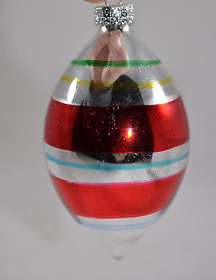 Silver and Red Striped Early Years Glass Christmas Tree Ornament new