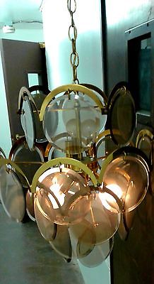Mid Century Modern VISTOSI Pendant Lamp CHANDELIER Smoked Glass Discs 20 x 24
