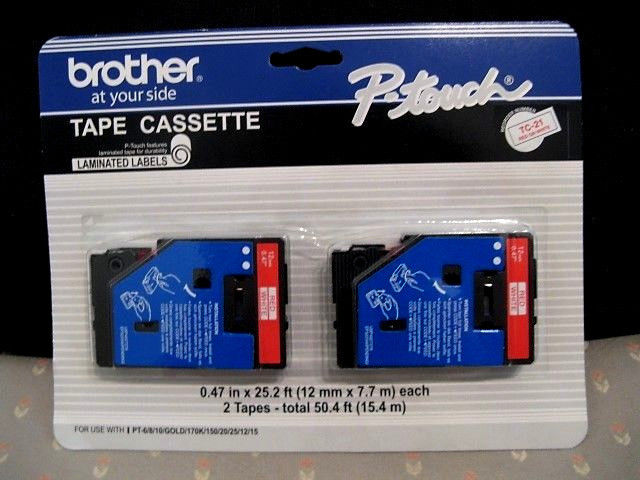 Brother P-Touch TC-21 Cassette Labels Red on White 2 Pack  FREE SHIPPING!
