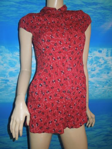 Free People Floral Red Boho Flowy Romper One Piece Size Small