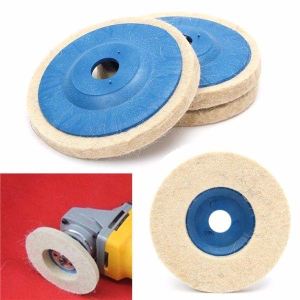 3pcs 4 Inch 100mm Round Grinding Wool Pad Polishing Wheel Felt Buffer Disc Set
