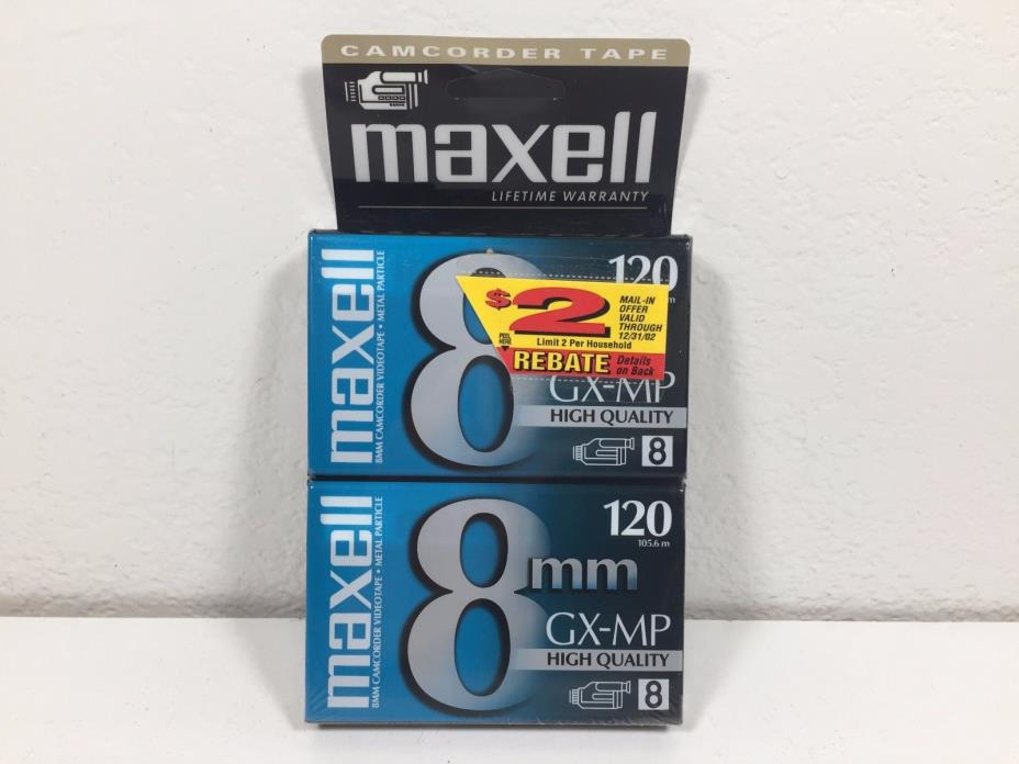2 MAXELL GX-MP High Quality 8mm Blank Tapes 120 min Camcorder Factory Sealed NEW