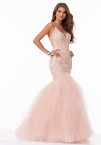 Beautifully Fitted Prom Dress with Beaded Embroidery on Tulle