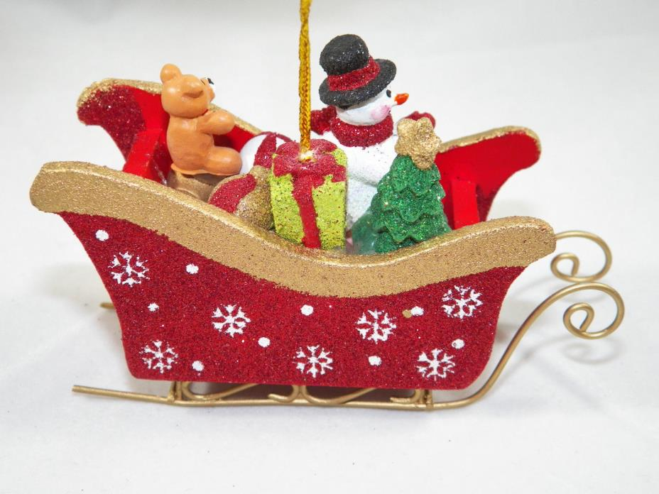 Snowman in Sleigh with Toys Christmas Tree Ornament new holiday