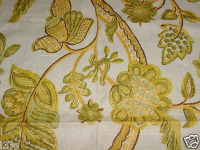 vntge FLORAL pattern REMNANT FABRIC heavy cotton/linen blend UPHOLSTERY yel grns