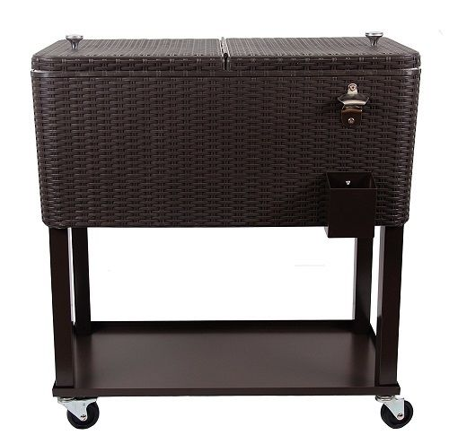 UPHA 80 Quart Rolling Cooler Cart Outdoor Patio Party Cooling Bin with Shelf,Bro