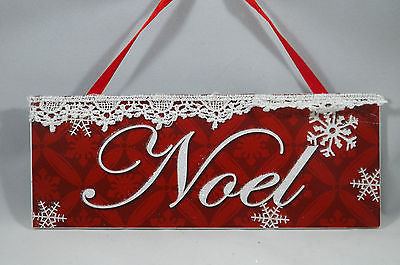 Noel Red Plaque with Snowflakes and Lace Christmas Tree Ornament new holiday