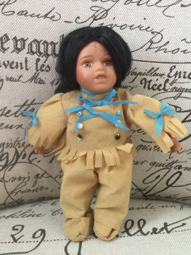 Native American Indian Doll Textured Hair Unblinking Eyes Traditional Clothing