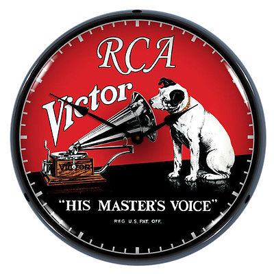 RCA Victor His Masters Voice Light Up Music Clock 14 in.