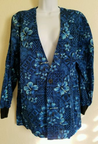 Women's  scrubs  Floral Long Sleeve Button Down Scrubs Size Small