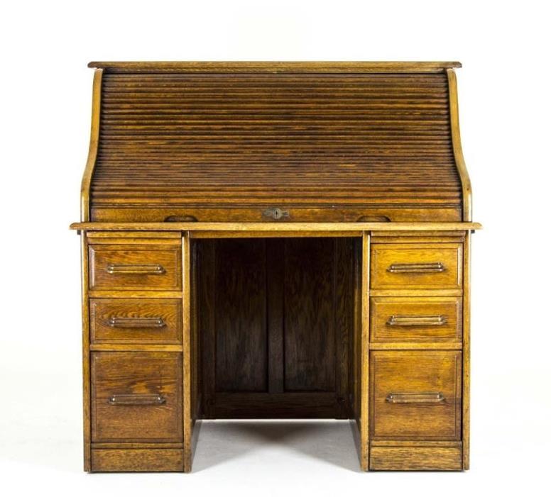 B673 Antique Oak Roll Top Desk, Double Pedestal