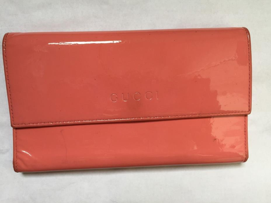 Authentic GUCCI Pink Leather Bi-Fold Long Wallet