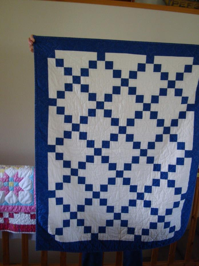 handmade little boy crib size baby quilt 40