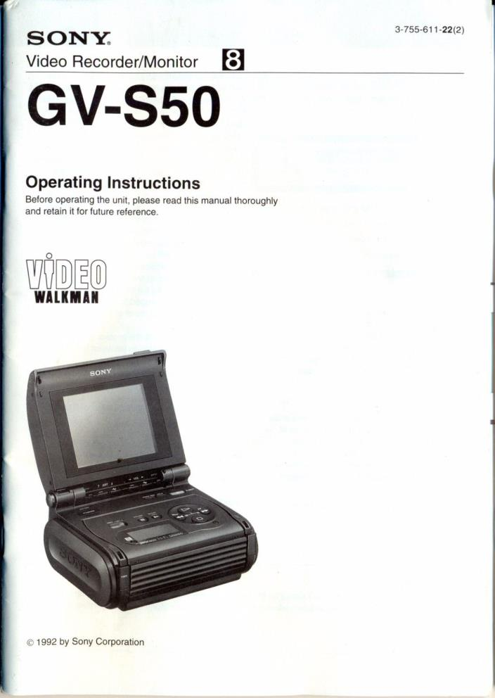 Sony GV-S50 8mm Video Walkman Operating Instructions Manual